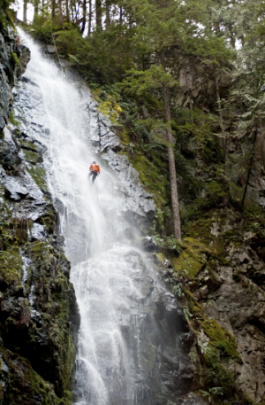 Canyoning near Vancouver, British Columbia.